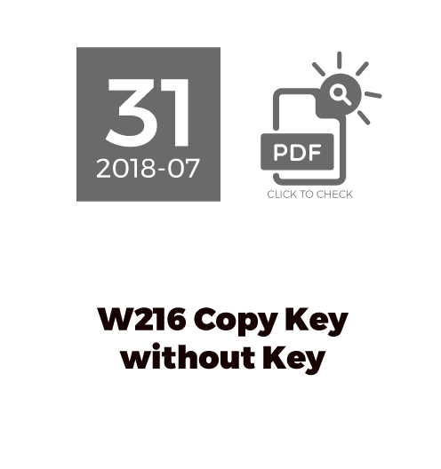 W216 Copy Key Without Key